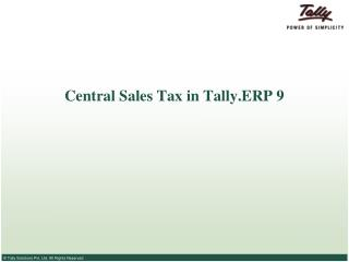 Central Sales Tax in Tally.ERP 9