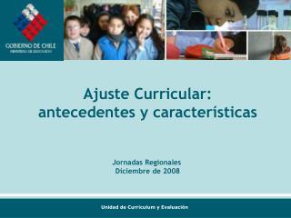 Ajuste Curricular: antecedentes y caracter sticas   Jornadas Regionales  Diciembre de 2008