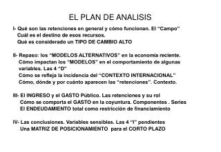 EL PLAN DE ANALISIS