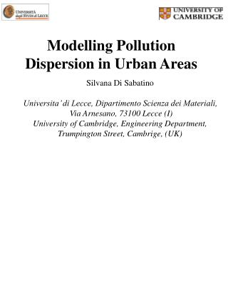 Modelling Pollution Dispersion in Urban Areas