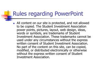 Rules regarding PowerPoint