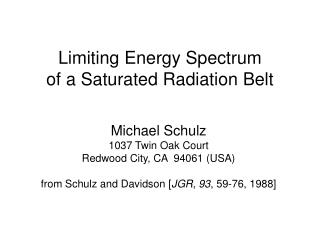 Limiting Energy Spectrum  of a Saturated Radiation Belt