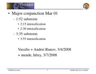 Major conjunction Mar 01 1:52 substorm 2:15 intensification 2:30 intensification 3:35 substorm