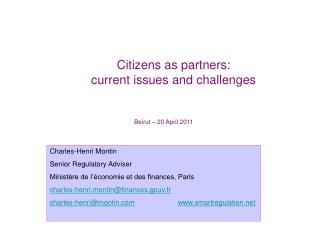 Citizens as partners: current issues and challenges