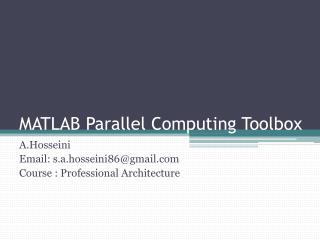 MATLAB  Parallel Computing Toolbox