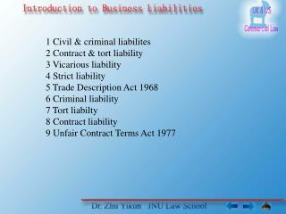 1 Civil & criminal liabilites 2 Contract & tort liability 3 Vicarious liability 4 Strict liability