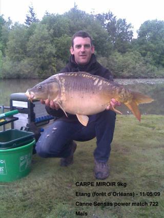 CARPE MIROIR 9kg Etang (forêt d'Orléans) - 11/05/09 Canne Sensas power match 722 Maïs