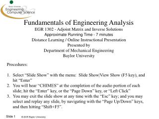Fundamentals of Engineering Analysis EGR 1302 - Adjoint Matrix and Inverse Solutions