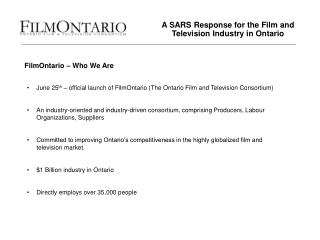 A SARS Response for the Film and Television Industry in Ontario