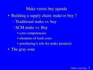 Make verses buy agenda