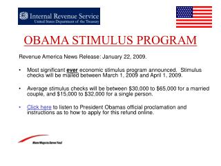 OBAMA STIMULUS PROGRAM