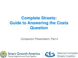 Complete Streets: Guide to Answering the Costs Question