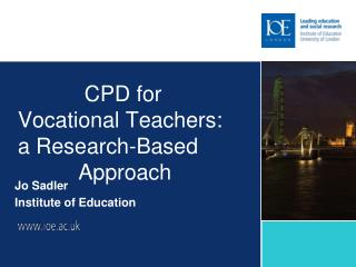 CPD for  Vocational Teachers: a Research-Based            Approach