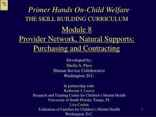 THE SKILL BUILDING CURRICULUM  Module 8 Provider Network, Natural Supports; Purchasing and Contracting