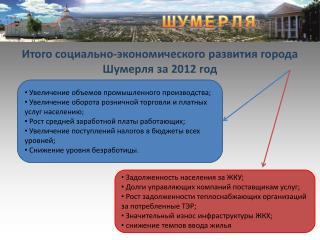 Итого социально-экономического развития города Шумерля за 2012 год