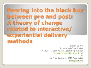 Susan Carter Evaluation Coordinator National Indian Youth Leadership Project