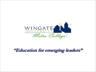 �Education for emerging leaders�