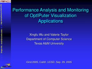 Performance Analysis and Monitoring of OptIPuter Visualization Applications