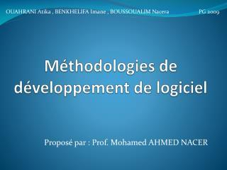 Méthodologies de développement de logiciel