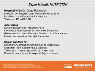Especialidad: NUTRICI�N