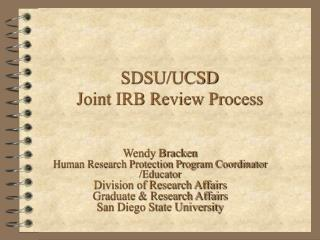 SDSU/UCSD Joint IRB Review Process