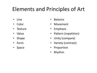 Elements and Principles of Art