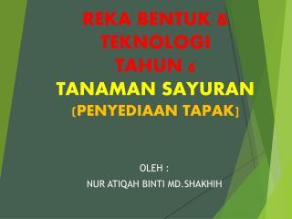 REKA BENTUK & TEKNOLOGI  TAHUN 6 TANAMAN SAYURAN (PENYEDIAAN TAPAK]