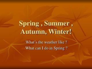 Spring , Summer , Autumn, Winter!