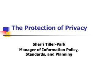 The Protection of Privacy