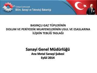 Sanayi Genel Müdürlüğü Ana Metal Sanayi Şubesi  Eylül 2014