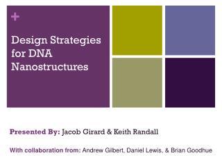 Design Strategies for DNA Nanostructures