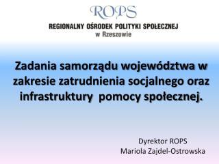 Dyrektor ROPS Mariola Zajdel-Ostrowska