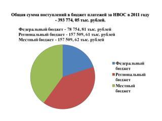 Общая сумма поступлений в бюджет платежей за НВОС в 2011 году  - 393 774, 05 тыс. рублей.