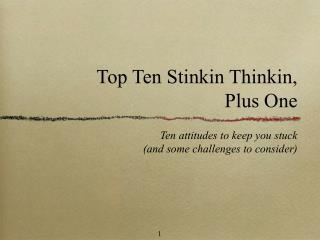 Top Ten Stinkin Thinkin,  Plus One