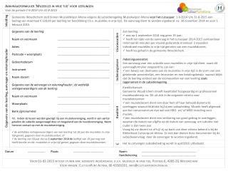 Aanvraagformulier 'Muziekles in vrije tijd' voor leerlingen Voor de periode 1-9-2014 t/m 31-8-2015