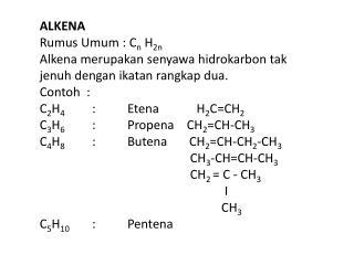 ALKENA Rumus Umum :  C n  H 2n Alkena merupakan senyawa hidrokarbon tak
