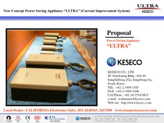 "New Concept Power Saving Appliance ""ULTRA"" (Current Improvement System)"