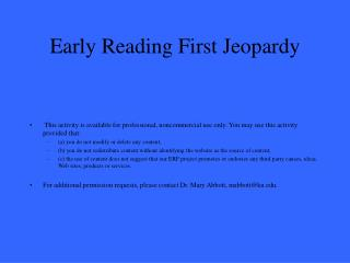 Early Reading First Jeopardy