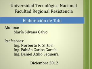 Universidad Tecnológica Nacional Facultad Regional Resistencia