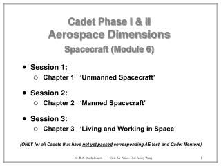 Cadet Phase I  II Aerospace Dimensions  Spacecraft Module 6