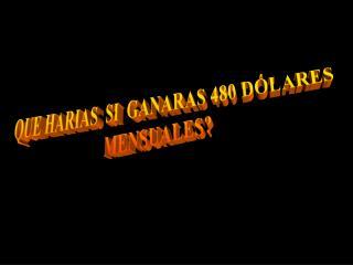 QUE HARIAS  SI  GANARAS 480 DÓLARES  MENSUALES?