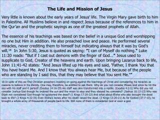 The Life and Mission of Jesus