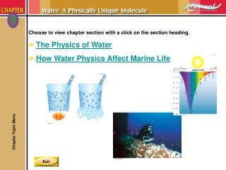 Choose to view chapter section with a click on the section heading. The Physics of Water