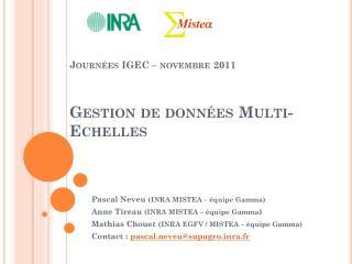 Journées IGEC – novembre  2011 Gestion de données Multi-Echelles