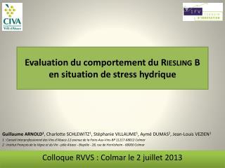 Evaluation du comportement du  Riesling B  en  situation de stress  hydrique