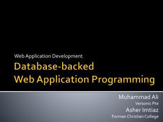 Database-backed  Web Application Programming