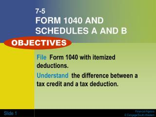 7-5 FORM 1040 AND SCHEDULES A AND B