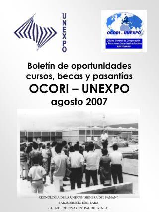 Boletín de oportunidades  cursos, becas y pasantías  OCORI – UNEXPO agosto 2007