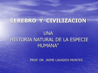 CEREBRO  Y  CIVILIZACION  UNA  HISTORIA NATURAL DE LA ESPECIE HUMANA