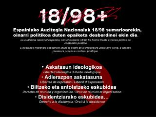 Askatasun ideologikoa Libertad ideológica /Liberté idéologique Adierazpen askatasuna